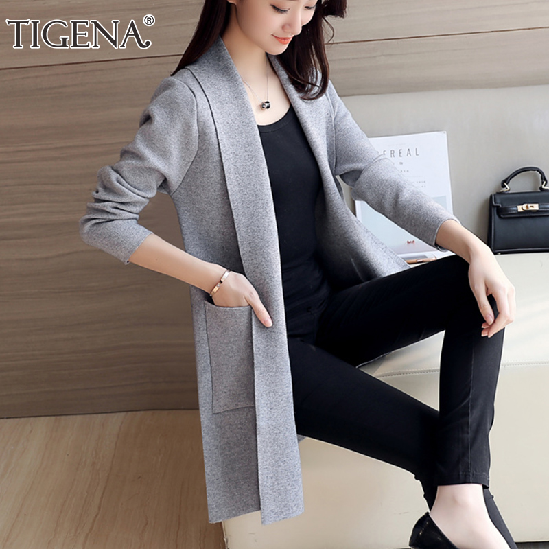 TIGENA Casual Long Cardigan Women With Pocket 2019 Autumn Winter Long Sleeve Sweater Cardigan Female Knitted Jacket Women Pink
