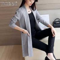 TIGENA Casual Long Cardigan Women with Pocket 2019 Autumn Winter Long Sleeve Sweater Cardigan Female Knitted Jacket Women Pink