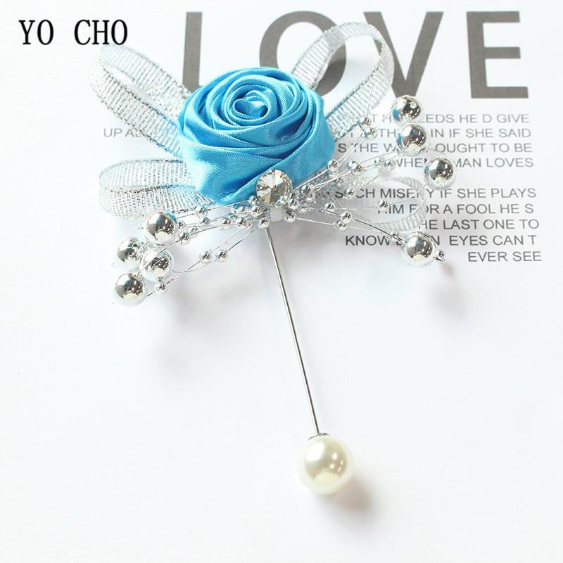 YO CHO Groom Boutonniere Buttonhole Women Brooch Wedding Corsage Pins Silk Roses Wedding Witness Corsage Flowers Man Accessories
