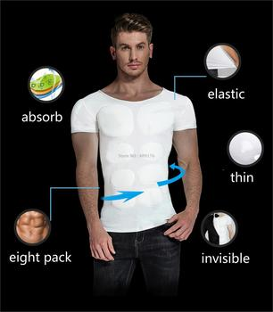 Fake ABS Muscles Shaper Invisible 8 Pack PEC Underwear Padded Shirts PRAYGER Men Strong Chest Stomach Body Tops