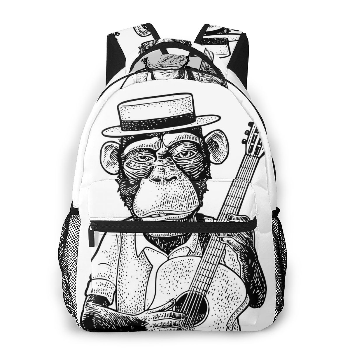 Fashion Backpack 2020 Funny Monkey Dressed Hat And Shirt Holding Guitar