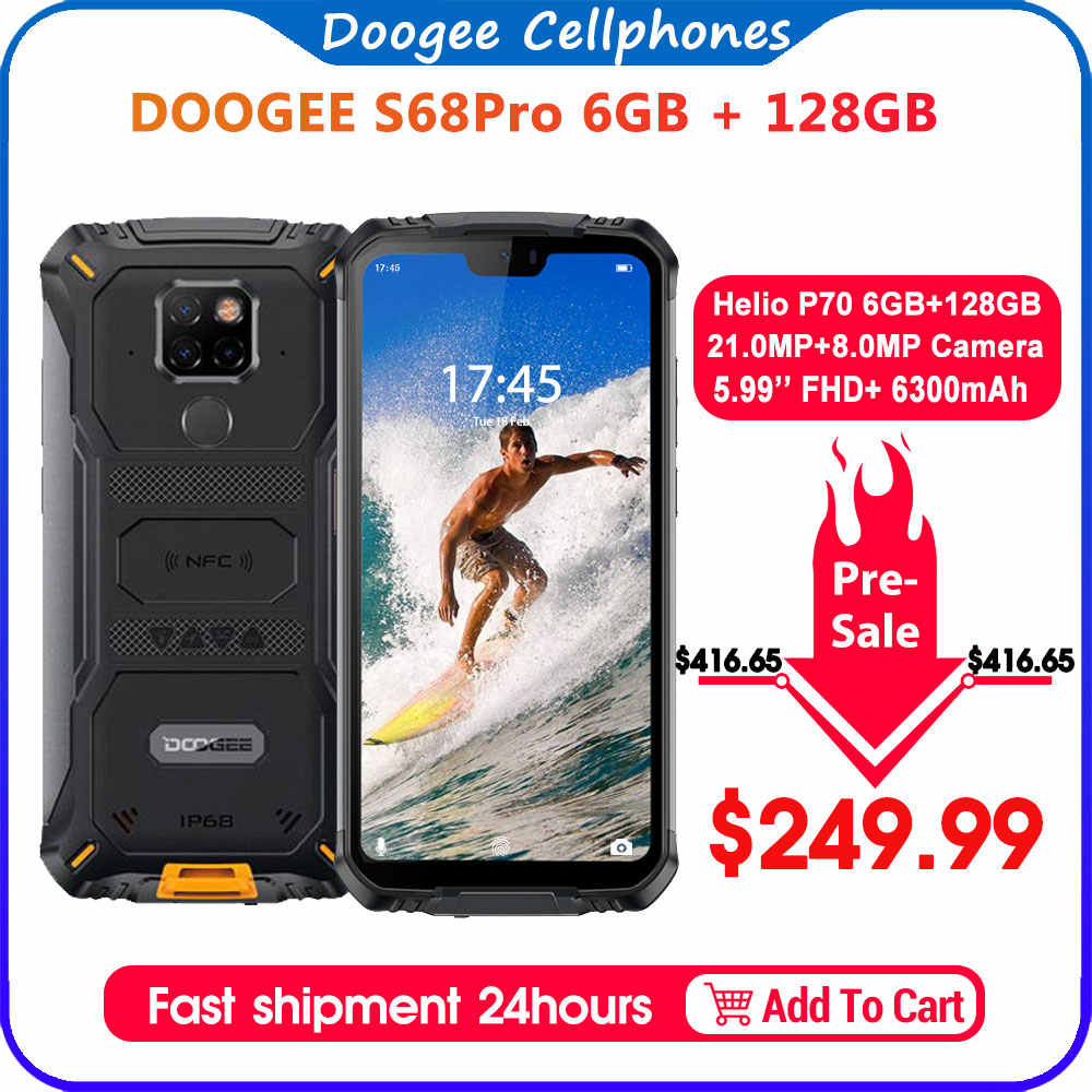 IP68 防水 doogee S68 プロ頑丈な電話ワイヤレス充電 nfc 6300 12V2A 充電 5.9 インチ fhd + エリオ P70 オクタコア 6 ギガバイト 128 ギガバイト