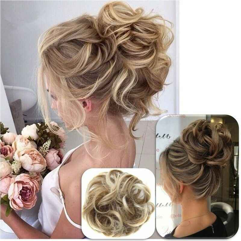 ผู้หญิงใหม่ Pony Tail Curly Hair Extension Bun Hairpiece Scrunchie CA