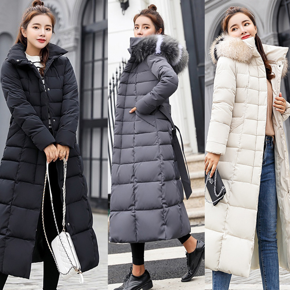 Women Jackets Parkas Windbreaker Hooded Winter Coat Long-Coats Big-Fur-Belt Thick-Down title=
