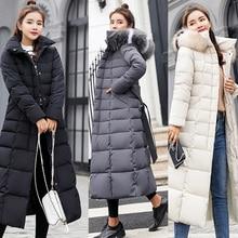 Fashion Winter Coat Women Jackets Thick Down Parkas Big Fur Belt Hooded Cotton Long Coats Warm Windbreaker Female Slim Outwear