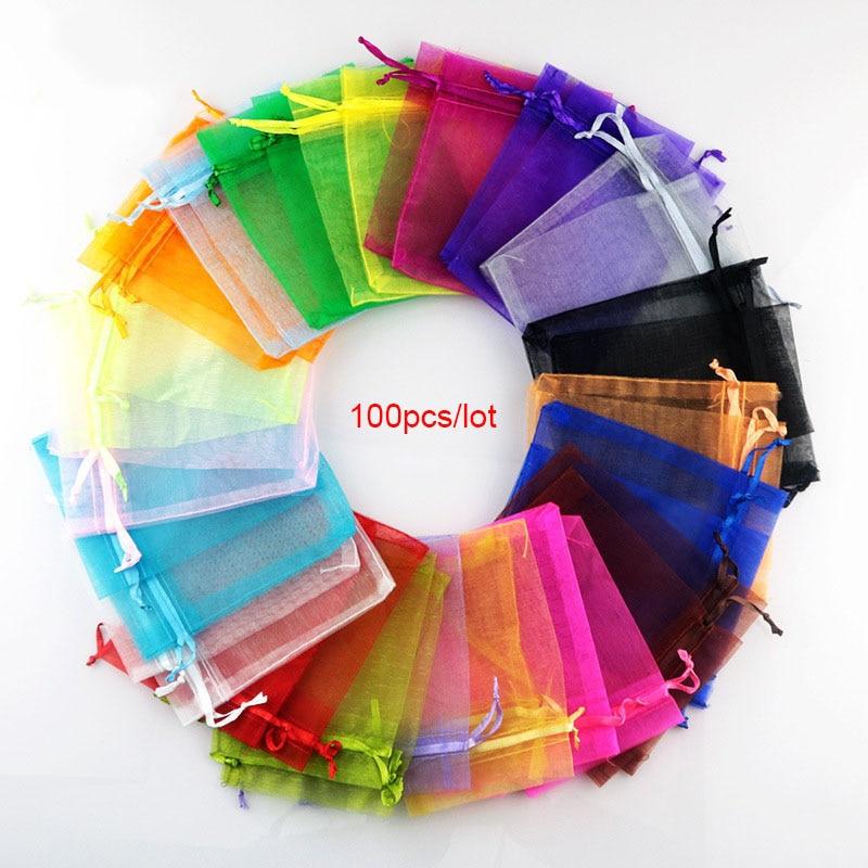 100pcs 22 Colors 7x9 9x12cm 10x15 13x18cm Organza Bags Jewelry Packaging Bags Wedding Party Jewelry Packaging Display & Pouches