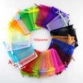 Мешки из органзы для упаковки украшений, 100 шт., 22 цвета, 7x9, 9x12 см, 10x15, 13x18 см