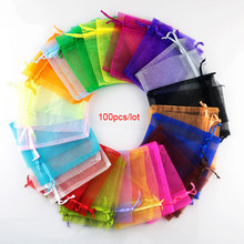 100pcs 22 Colors 7x9 9x12cm 10x15 13x18cm Organza Bags Jewelry Packaging Wedding Party Display & Pouches