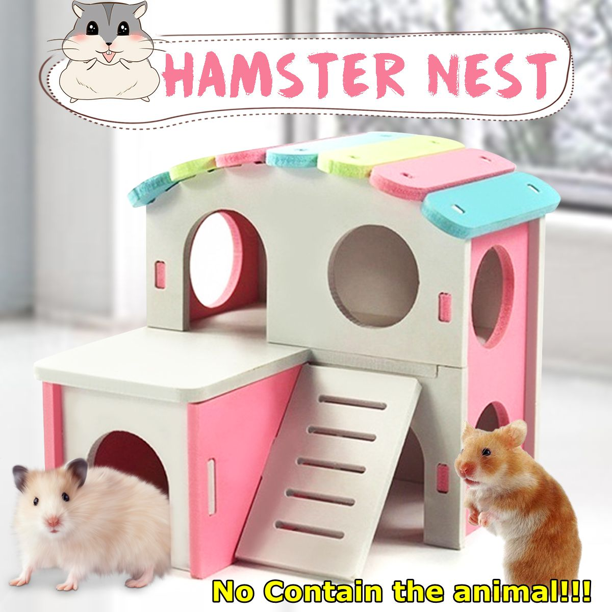Pet Castle Toy Pet House Viewing Deck Ladder Pet Products 1 PC Hamster House Hamster Nest Wooden Seesaw