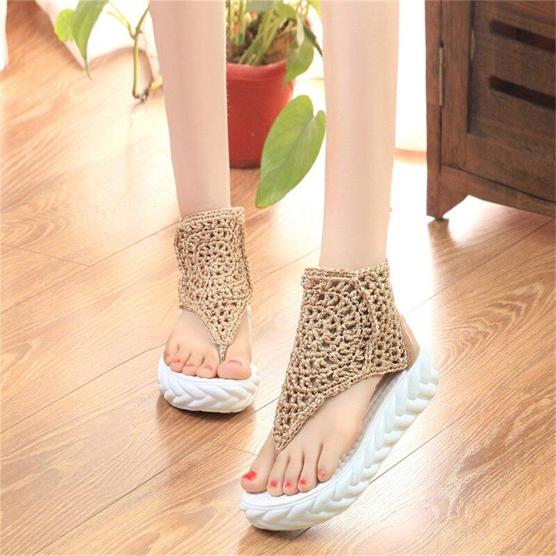 Lin king/модные женские ботинки на толстой подошве вязаные сандалии