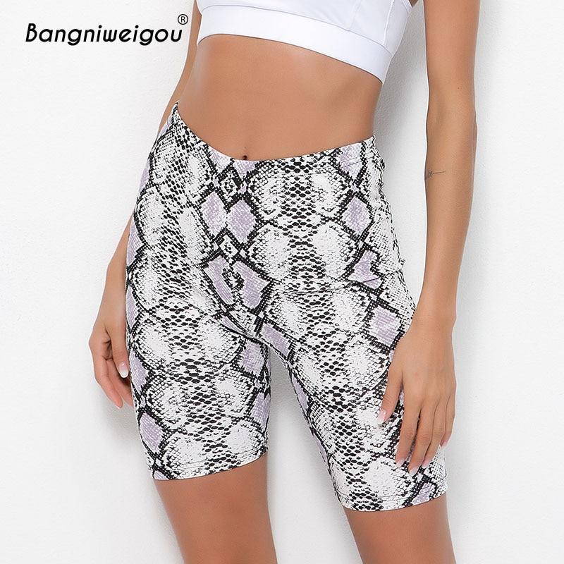 Bangniweigou Fashion Snake Print Workout Cycling Shorts Women Fitness Snakeskin Biker Shorts Stretchy Short Pants Streetwear