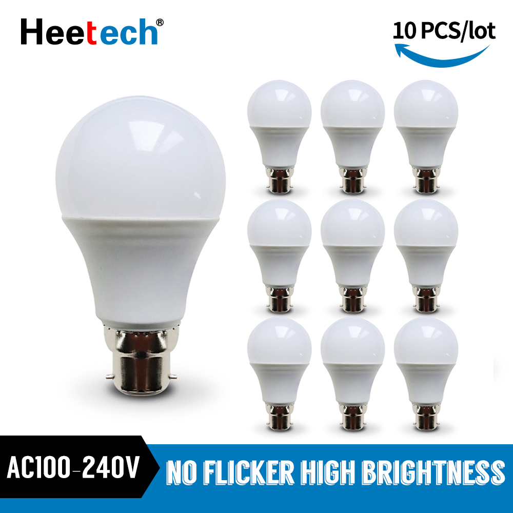 10pcs/lot LED Bulb B22 Lamp Bayonet Lampada 21W 18W 15W 12W 9W 6W 3W Cold White Warm White Ball Light Bombill AC 110V 220V 240V