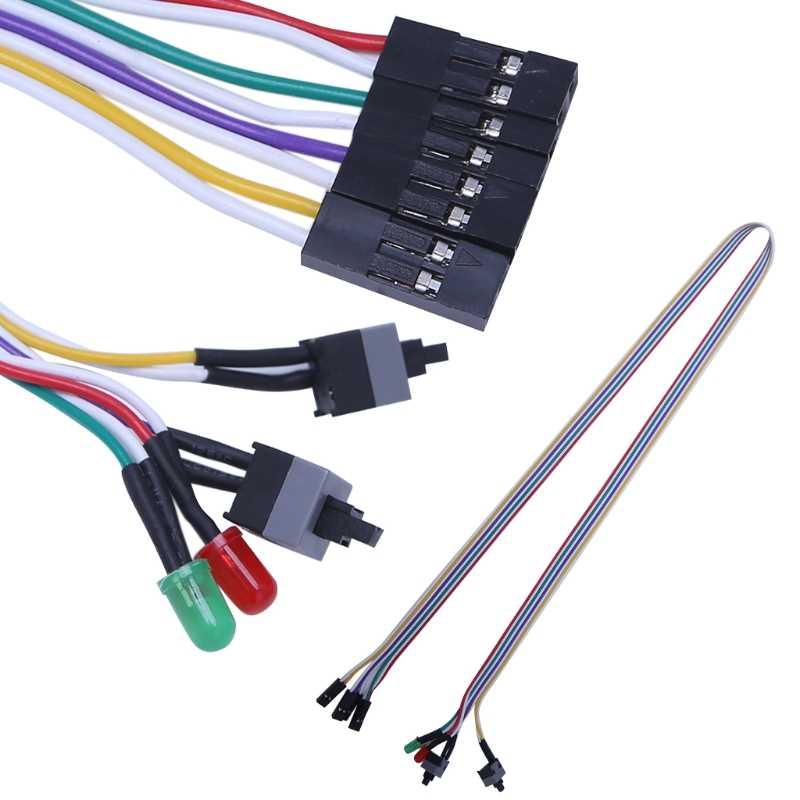 65 سنتيمتر كمبيوتر مكتبي PC حالة ATX السلطة على إعادة تعيين التبديل مع كابل HDD مصباح ليد Q81E