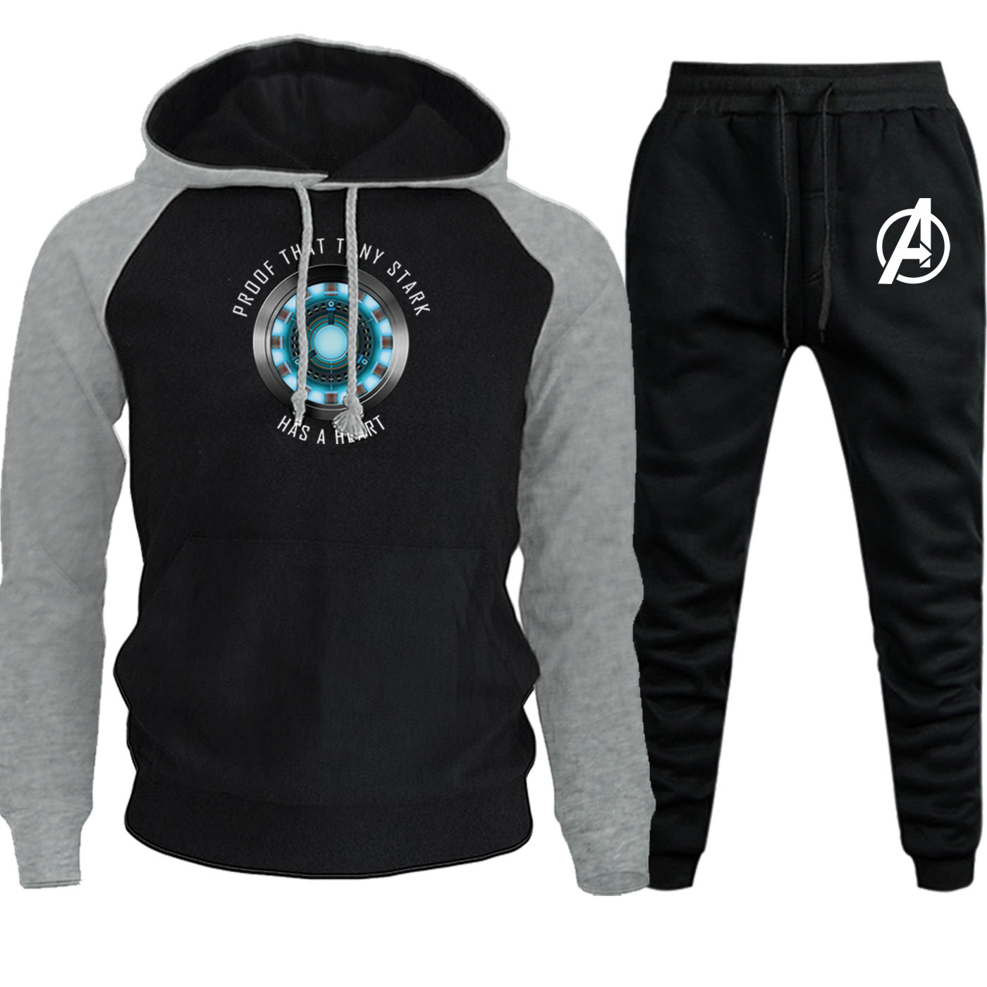 Tony Stark Hoodie New Autumn Winter Iron Man Streetwear Men Raglan Suit Hooded The Avengers Fleece Sweatshirt+Pants 2 Piece Set