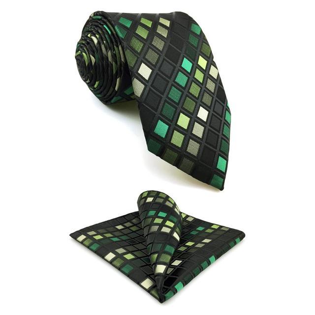 C2-cravate pour homme taille extra longue | Vert, noir, tissu en soie, style classique, mode, robe de mariage, Hanky