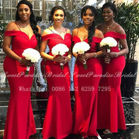 Off Shoulder Red Mermaid Bridesmaid Dresses Long 2020 African Women Vestidos Wedding Party Dress