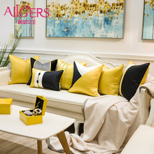 Avigers luxury Yellow Black Patchwork Striped Home Decorative Pillow Cases Velvet Cushion Covers for Sofa Bedroom Living Room(China)