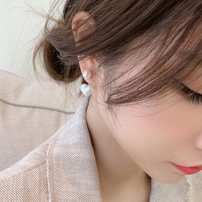 Creative New Real Needle Stud Earrings for Women Jewelry Double Side Heart Pearl Female Earrings