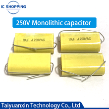 10 Uds genuino Axial de Audio condensador sin electrodos 250V 1UF 1,5 UF 1,8 UF 2,2 de 2,7 de 3,3 4 4,7 4 5,6, 6,8 UF 8,2 10 12 15 18 20 22 33 47UF