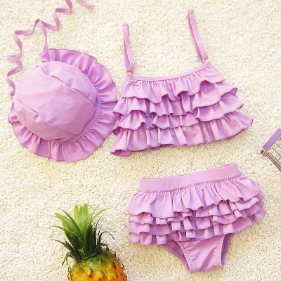 2018 New Style Size Girls South Korea Baby Infants Cute Child Children Cake Layer Two-piece Swimsuits With Hat