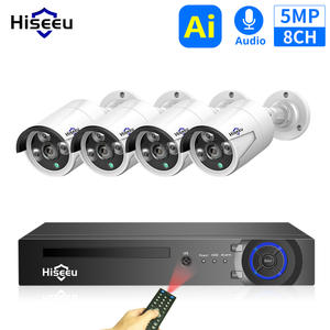 Cctv-Security-Camera Nvr-System Hiseeu POE IP 4MP H.265 Waterproof Outdoor 8CH 5MP 48V