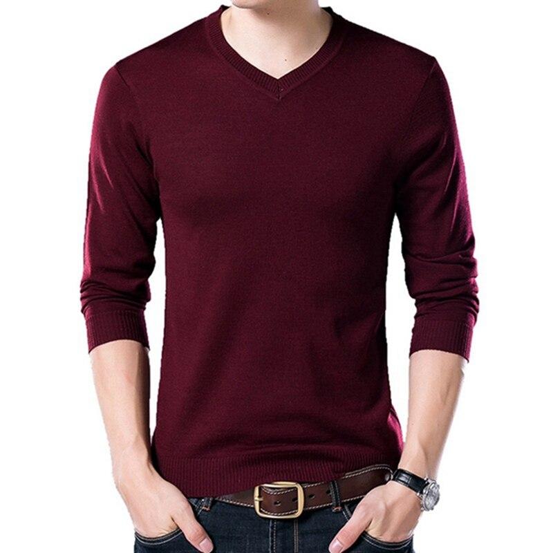 PUI men TIUA осенний Повседневный однотонный базовый Мужской свитер с v-образным вырезом тонкий мужской пуловер вязаный свитер с длинным рукавом мужской свитер размера плюс - Цвет: Red