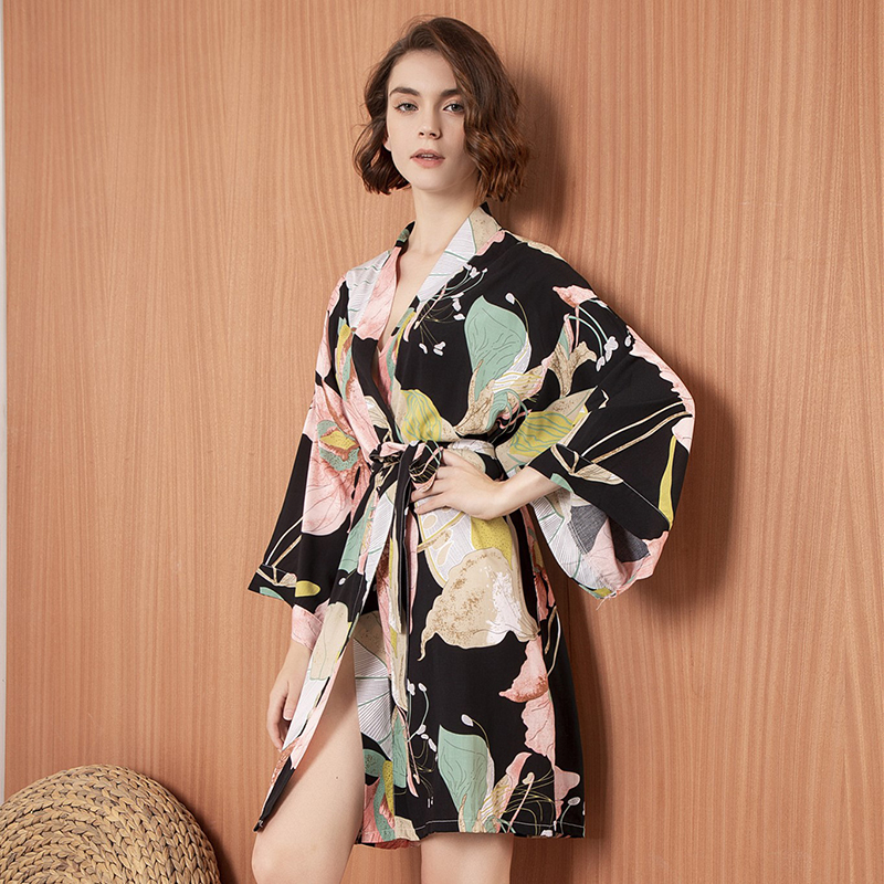 JULY'S SONG New Sleepwear Robe Spring Thin Cotton-silk Women Nightgown Flower Printed Long-sleeve Pajamas Bathrobe For Female