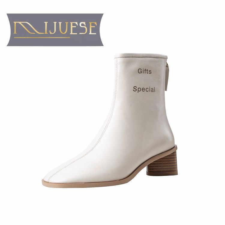 MLJUESE 2020 kadın yarım çizmeler koyun derisi kış kısa peluş fermuar yuvarlak ayak sarı renk yüksek topuklu bayan botları parti elbise