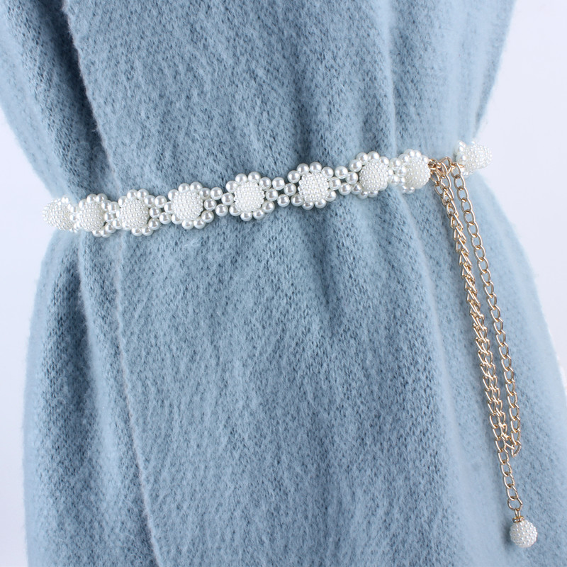Fashion Elegant Women Simulated Pearl Belts Alloy Chain Belts Sunflower Waistband Women Dresses Clothing Female Accessories