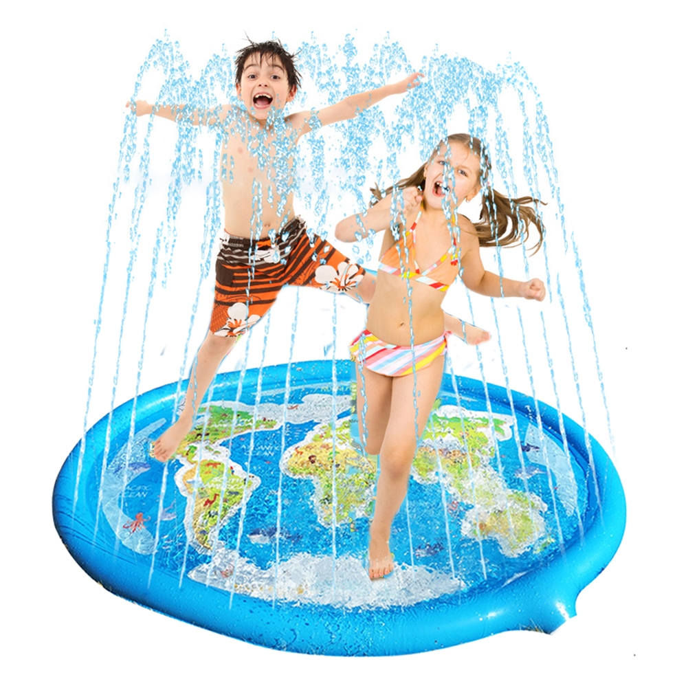 Kids Lawn Play Sprinkler Pad Cushion 180/170cm Map Print Inflatable Water Spray Mat Interaction Time Toddler Water Pad