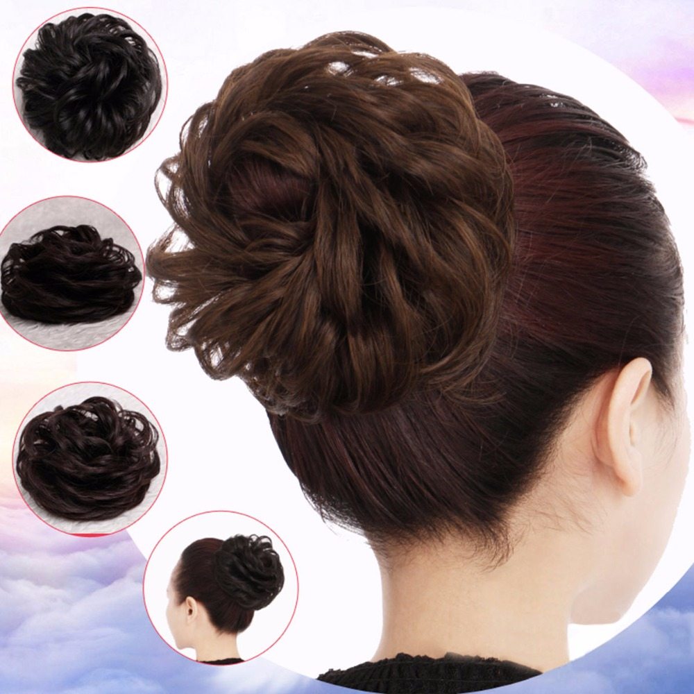 Allaosify Synthetic Hair Chignons Elastic Scrunchie Hair Extensions Ribbon Ponytail Hair Clip Hairpieces Donut Buns Curly Bun