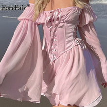 Forefair Satin Dress Women Bow Tie Elegant Silk Mini Dress With Corset Bandage Hollow Out Flare Sleeve Dresses 2 Pieces Set