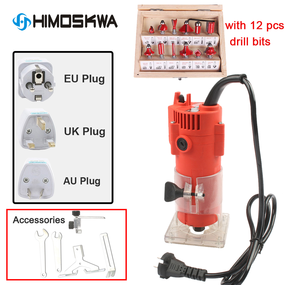 300W Plastic Housting Power Tools Woodworking Trimmer Slot Machine Woodworking Tools Engraving Machine With 12pcs Drill Bits