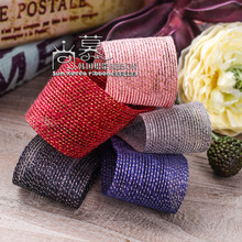 100yards 25mm 40mm silver gold metallic purl stripes hollow out mesh ribbon for hair bow diy accessories bouquet flower packing