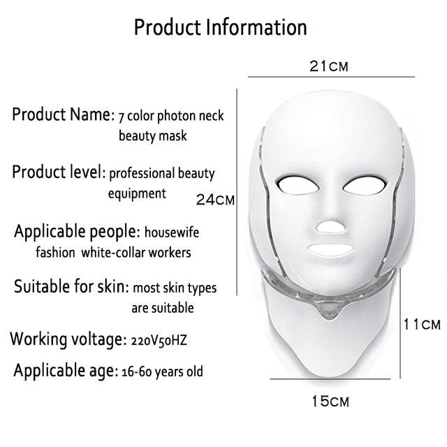 Nowy 7 kolor LED twarzy maska z odmładzaniem skóry szyi przeciw trądzikowi zmarszczek leczenie urody Salon usuwanie trądziku urządzenie do pielęgnacji twarzy