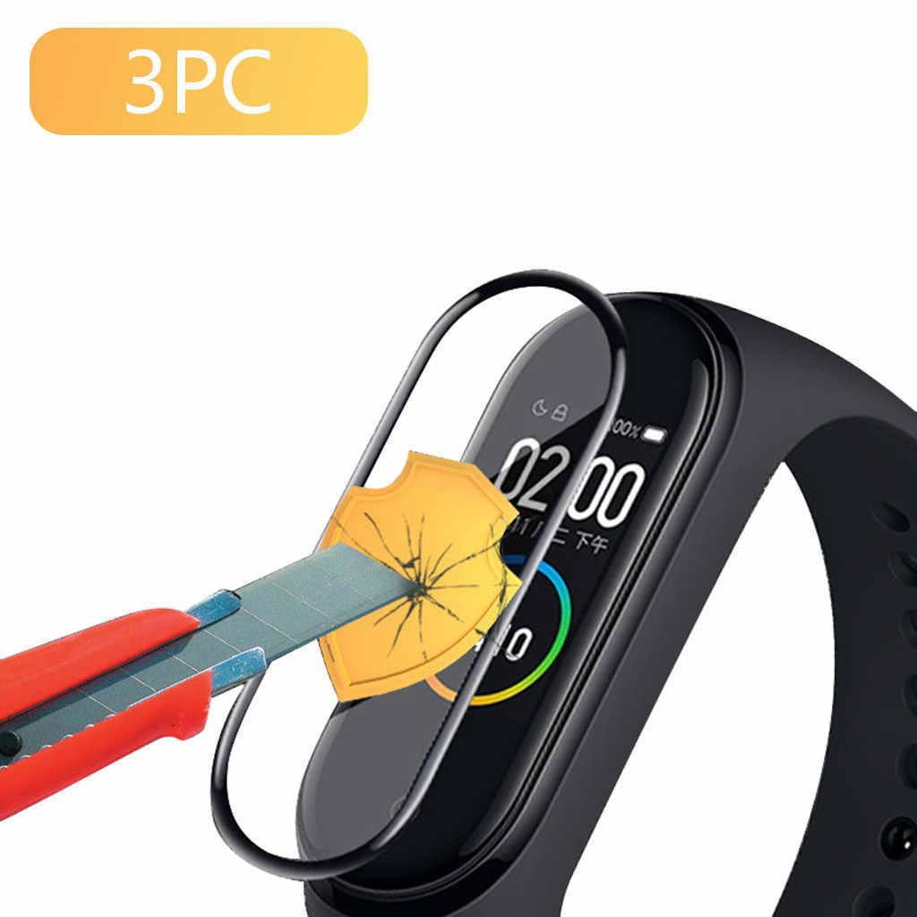 3PCS פיצוץ הוכחה מעוקל משטח מסך מגן סרט עבור שיאו mi mi Band 4 למנוע סריטות ולספוג זעזועים עבור שעון