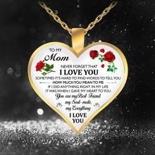 Letter I Love You TO My Mom/Daughter/Teacher Heart Necklace For Women Romantic Gold Color Chain Necklace Jewelry Gift недорого