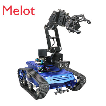 6-Degree-of-Freedom Mechanical Arm Crawler Car Tracking Obstacle Avoidance Robot Intelligent Car STM Programming Car doit rc metal tank chassis with bearings caterpillar tractor crawler intelligent robot car obstacle avoidance diy toy