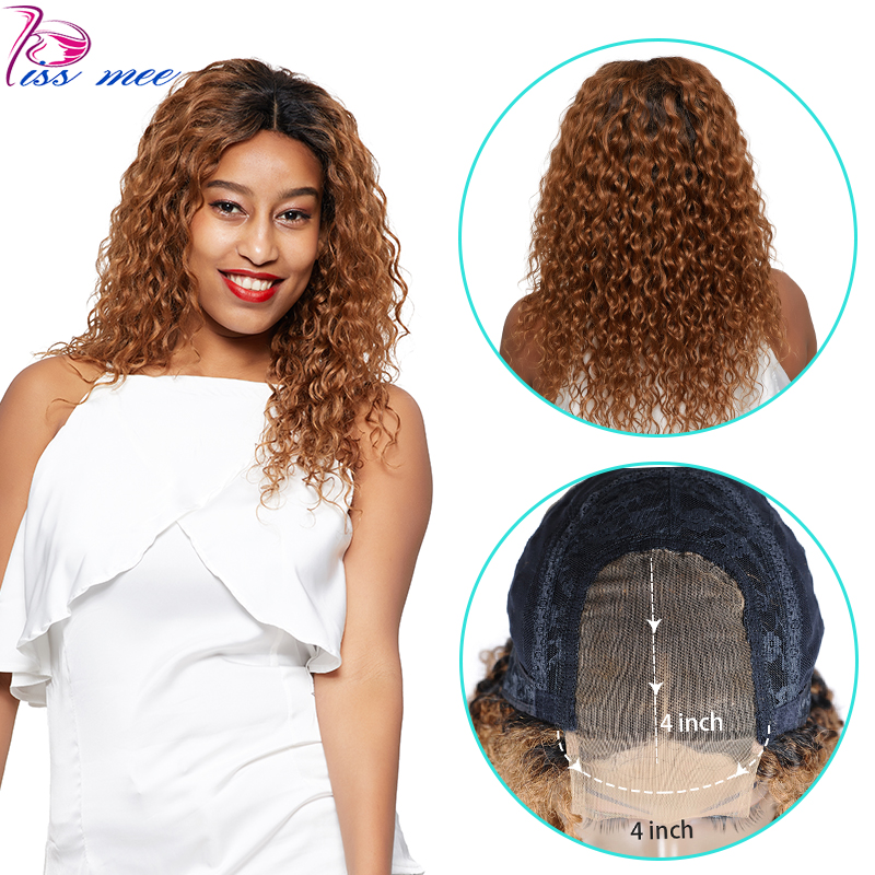 Kissmee Ombre Water Wave Wig T1B/30 Ombre Brown Human Hair Lace Wig  250 Density Remy Peruvian 4*4 Lace Closure Middle Part Wig
