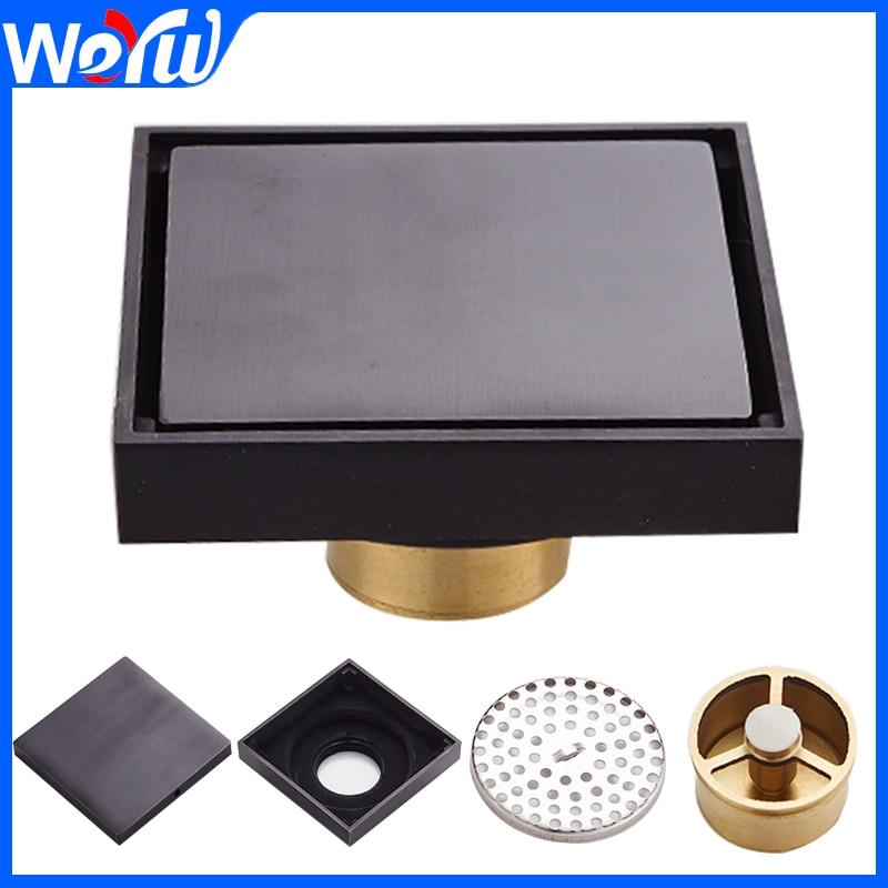 Toilet Floor Drain Black Brass Drain Covers Sink Floor Waste Grates Square Bathroom Shower Drainer Strainer