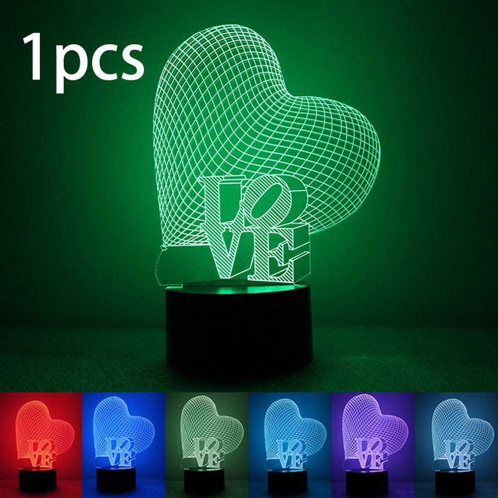 Colorful 3D Night Light Love Night Light Eye Care LED Light Bedside Night Lamp Home Decoration Birthday Gift