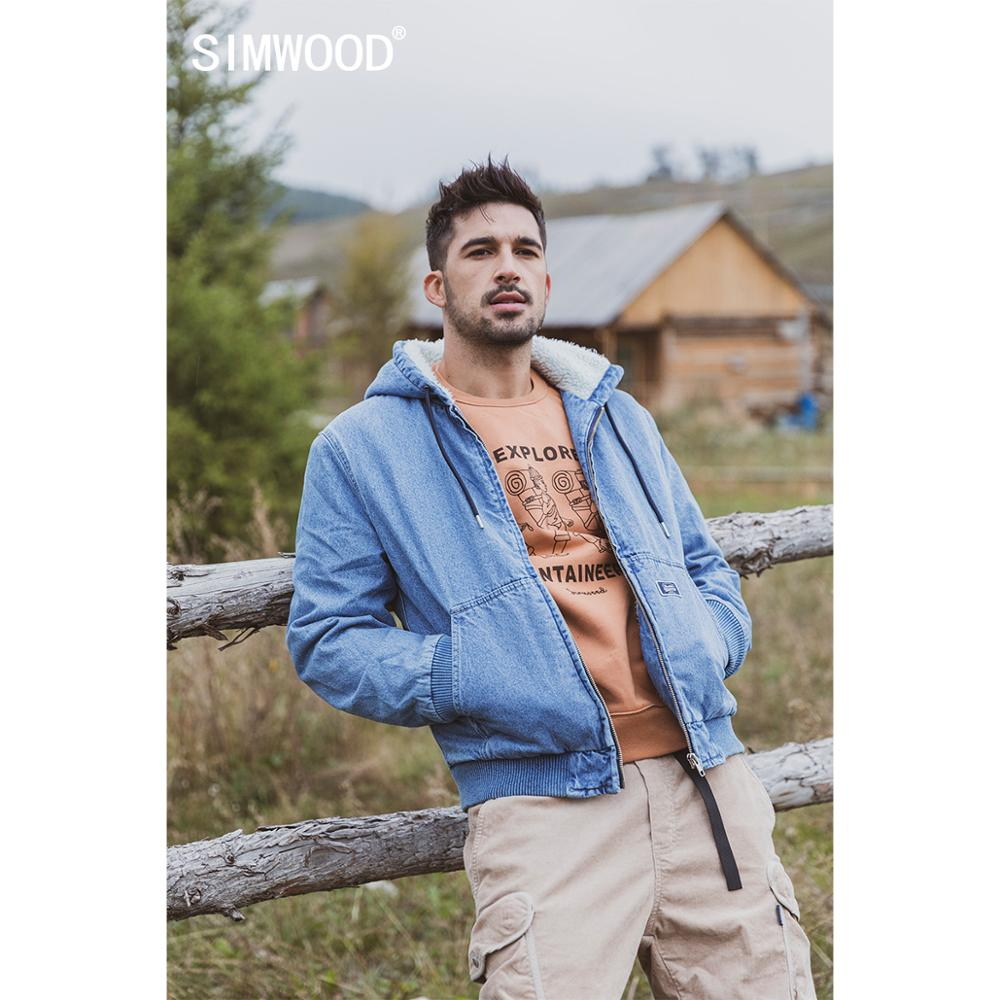 SIMWOOD 2019 Winter New Berber Fleece Inner Denim Coats Men Warm Faux Shearling Hooded Jackets Washed Vintage Outerwear SI980705