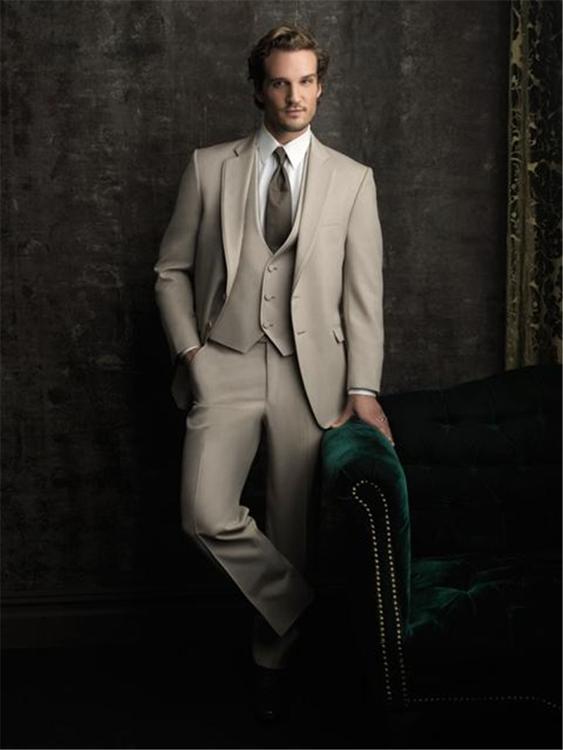 New Bridegrooms Wedding Tuxedos Custom Made Formal 3Pcs Men Formal Party Suit Business Office Man Suit (Jacket+Pants+Vest)