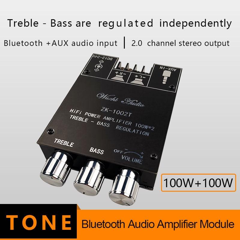 TPA3116D2 Bluetooth 5.0 HIFI 2.0 Channel Power Audio Stereo Amplifier Board 100WX2 50W+50W TREBLE Bass note tuning AMP ZK-1002T
