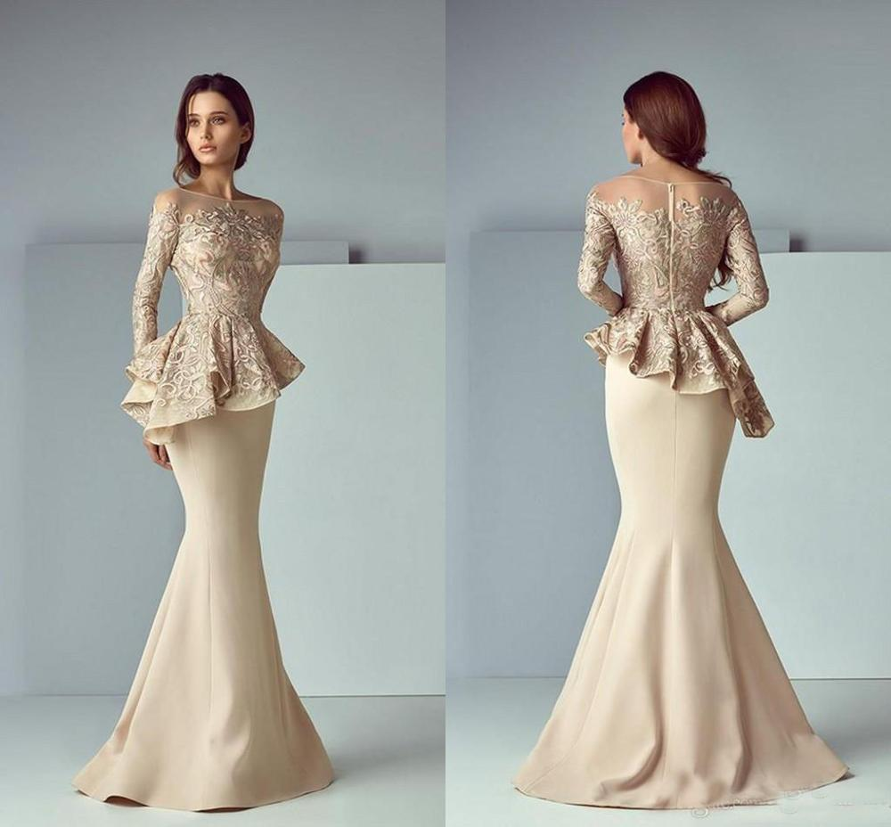 Saiid Kobeisy Champagne Lace Satin Peplum Mermaid Evening Dresses Long Sleeves Formal Wear Jewel Neck Dubai Arabic Prom Dress