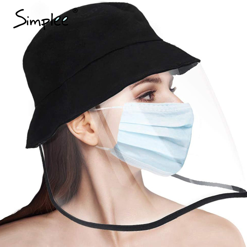 Simplee Antibacterial Bacteria Anti-Spitting Protective Bucket Mask Hats Outdoor Adjustable Full Fisherman Hat Cap Outdoor Caps