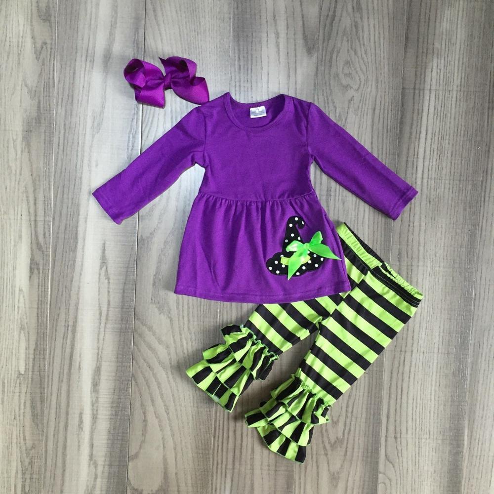 Детская одежда на Хэллоуин для девочек; фиолетовое платье для девочек с шапкой ведьмы; брюки в зеленую полоску; милый наряд для девочек с бантом-in Комплекты одежды from Мать и ребенок