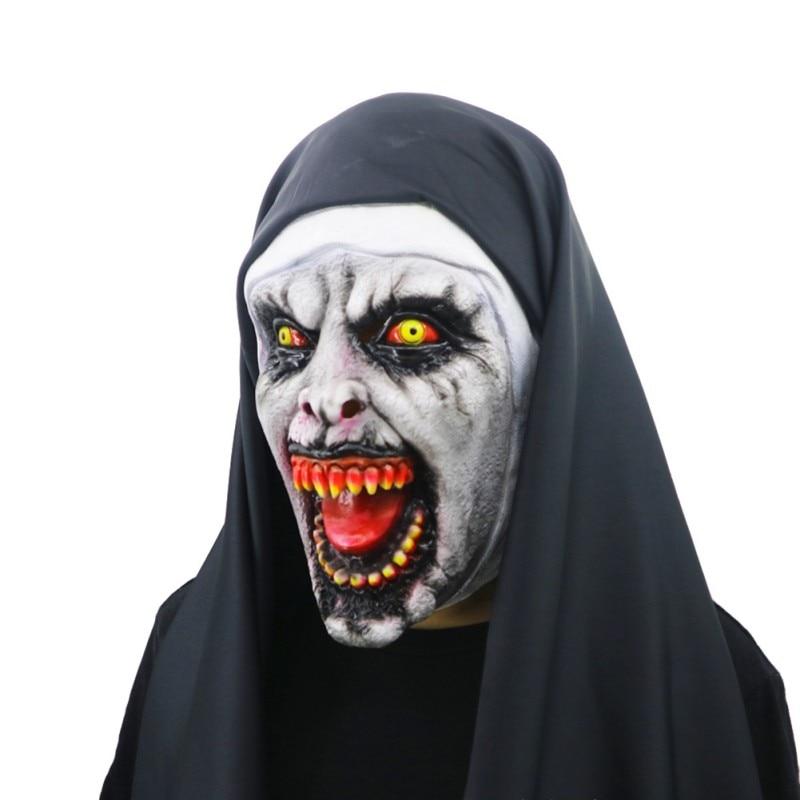 Halloween The Nun Horror Mask Cosplay Valak Scary Latex Masks with Headscarf