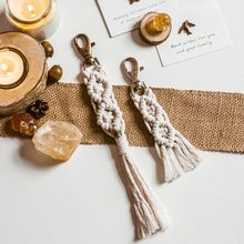 Macrame Keychains Boho Woven Bag Charms with Tassels Handcrafted Accessories for Car Key Purse Phone Unique Decoration Ornaments(China)