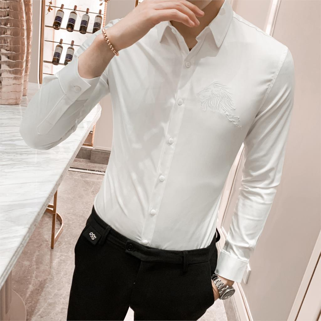 Solid Shirt Men Autumn New Long Sleeve Men Dress Shirts High Quality Embroidery Slim Fit Casual Party Wear Night Club Tuxedo 3XL